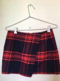 H&M red and navy tartan wrap mini skirt