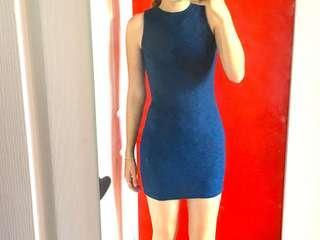 Bodycon blue ribbed mini racerback dress