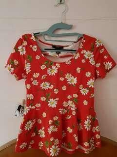 Red Floral Peplum Top w/ Heart Cut-out at the back