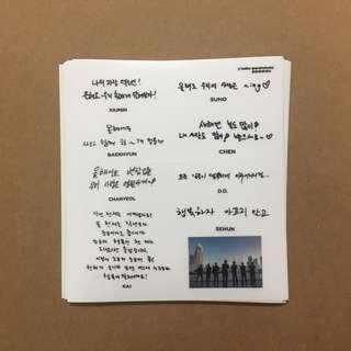 🚚 exo journal/ diary handwritten messages stickers