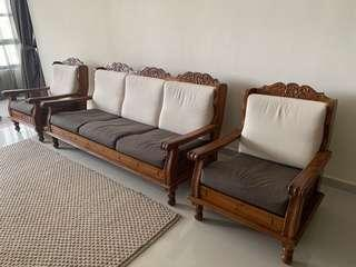 🚚 Genuine teak wood sofa set (3+1+1 seats)