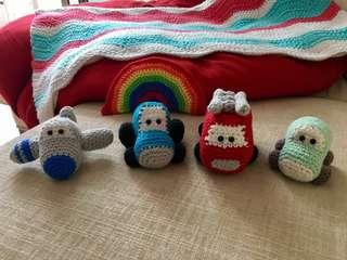 (PO) Handmade Crochet Baby Vehicle Soft Toy Rattle