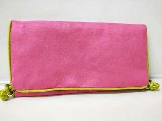 Oriental pink velvet pouch