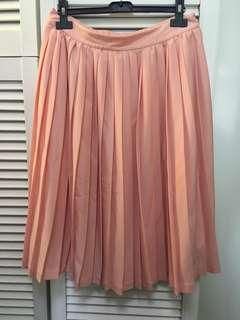 🈹 b+ab 淺橙粉紅中長彈性百褶裙 light salmon pink midi pleated stretchy skirt