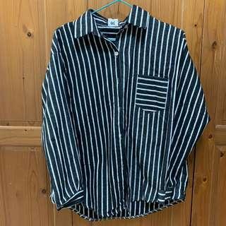 黑白條紋厚襯衫