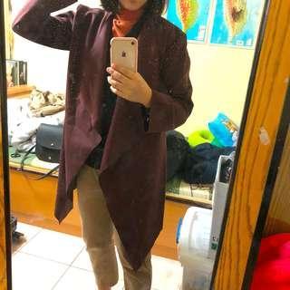 酒紅色百搭大衣