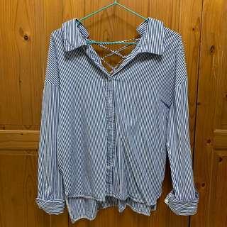 前V領後交叉藍白條紋襯衫