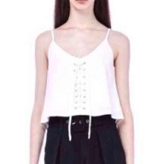 TEM Halona White Laced-up Top