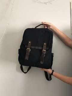 "Zapatos Canvas Backpack Black - Ransel Kanvas Kulit muat Laptop 15.6"" Inch"