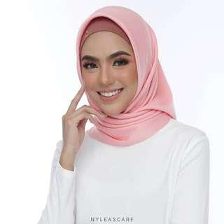 🚚 Musalmah Square Shawl by Nyleascarf - Salmon