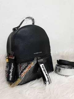 Charles & Keith Holographic Backpack Black Hitam Ransel NEW BARU minus tag dan dustbag