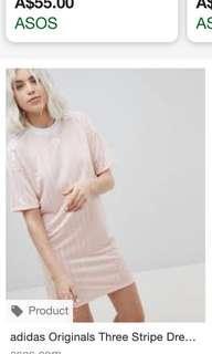 Brand New Adidas originals three stripe dress in pink