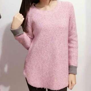 🚚 粉紫混色長版針織毛衣