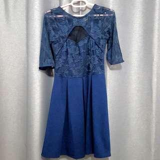 Navy Blue Lace Fit & Flare Dress #SpringCleanAndCarouSell50