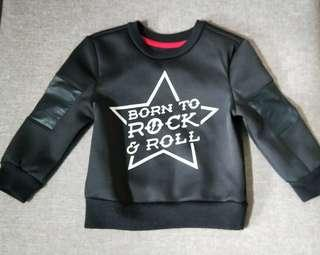 9-12M Born To Rock and Roll Black Pullover