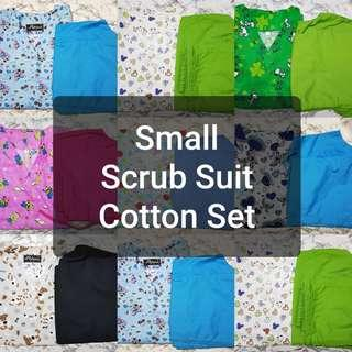 SIZE: SMALL V-NECK WITH COTTON PANTS SCRUB SUIT SET