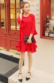 韓國 Cherryville 荷葉邊 洋裝 紅色 荷葉 波浪 連衣群 紅色 喜洋洋
