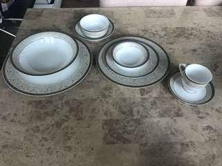 6 piece silver engraved/ gilded dinner set