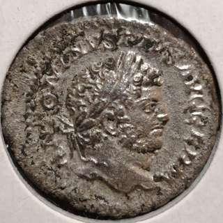 🚚 Ancient Roman Silver Denarius, Caracalla 215 AD