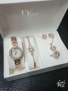 Dior set watch & 4 in1 jewellery silver & rose gold