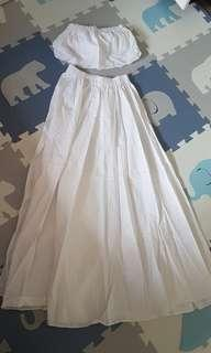 white maxi skirt with top
