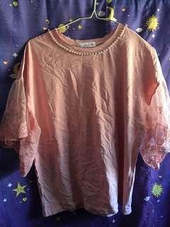 粉紅色lace袖