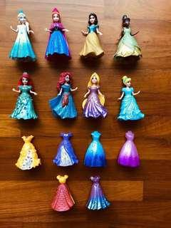 Disney Magiclip Dolls 8 Princesses and 6 additional dresses