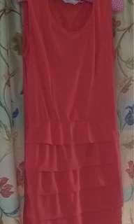 時尚俏麗洋裝(8成新、S-M、蜜橘色)