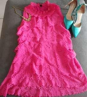 桃紅絕美氣質洋裝(8成新)