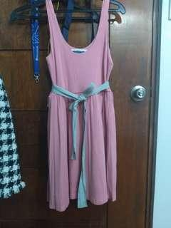 F21 Old Rose Dress with Silver Belt