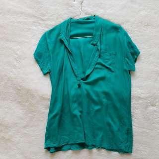 blouse green hijau polos