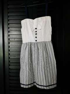 🚚 White Top & Blue stripe Dress