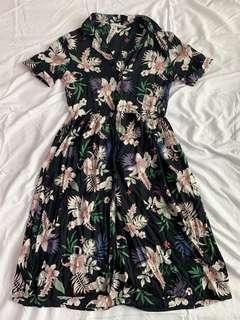 Mango Tropical Floral Button Down Dress