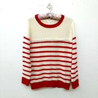 🚚 紅白條紋針織毛衣