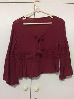 🚚 Maroon Cropped Top