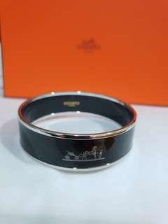 BN Hermes Bracelet Large Caleche Email Palladie Noir