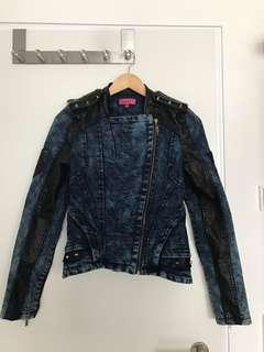 Denim Faux Leather Spring Coat
