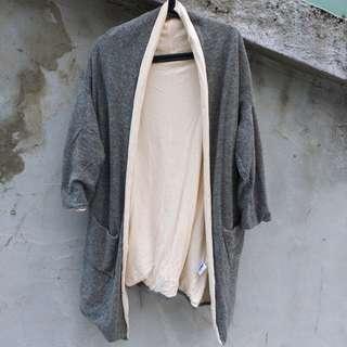 🚚 出清日本_灰色羊毛針織長外套