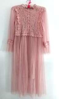 lace dress neutral colour