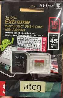 SanDisk Extreme microSDHC UHS-I Card & Adapter 16GB (45MB/s)