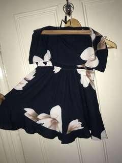 flower strapless playsuit
