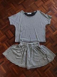 Houndstooth blouse+mini skirt set