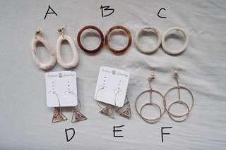 Acrylic and Dangling Earrings