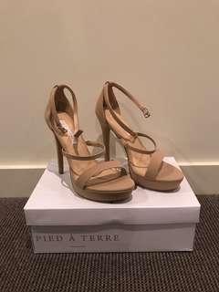 Tan three strap heels