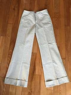 🚚 BNWT Striped Cream Stovepipe Wife-legged Pants ESPRIT 36