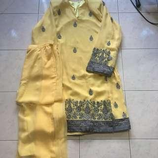 Baju Kurung Kain Saree in Yellow
