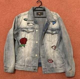 Oversized Denim Jacket With Patches (size m)