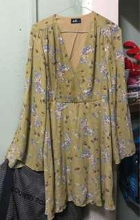 Green Yellow DOTTI Flare Hippie Long Sleeve Dress - Size 10