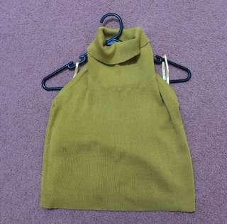 Rose Bullet Mustard Yellow Turtleneck Lowback Top