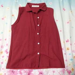 brand new maroon red collored buttoned top (: